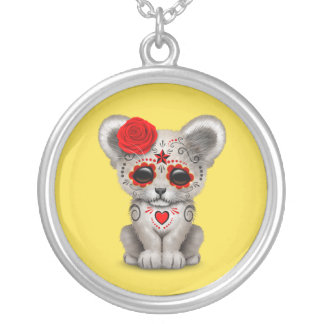 Red Day of the Dead Lion Cub Silver Plated Necklace