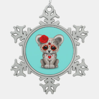 Red Day of the Dead Lion Cub Snowflake Pewter Christmas Ornament