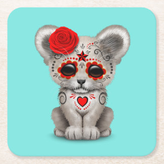 Red Day of the Dead Lion Cub Square Paper Coaster