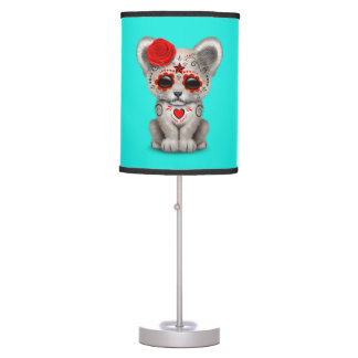 Red Day of the Dead Lion Cub Table Lamp