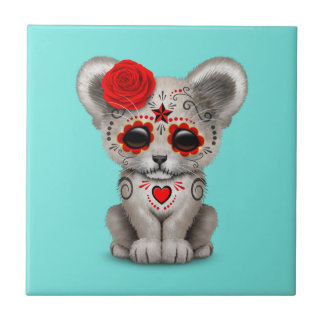 Red Day of the Dead Lion Cub Tile