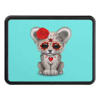 Red Day of the Dead Lion Cub Tow Hitch Covers