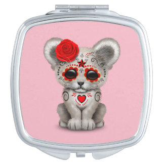 Red Day of the Dead Lion Cub Travel Mirror