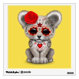 Red Day of the Dead Lion Cub Wall Sticker