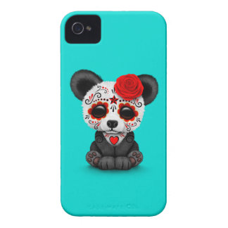 Red Day of the Dead Sugar Skull Panda on Blue iPhone 4 Case-Mate Cases