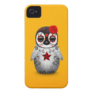 Red Day of the Dead Sugar Skull Penguin Yellow iPhone 4 Case