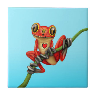 Red Day of the Dead Sugar Skull Tree Frog Tile