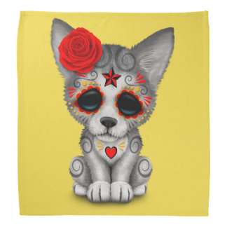 Red Day of the Dead Wolf Cub Bandana