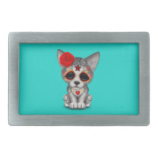 Red Day of the Dead Wolf Cub Belt Buckle