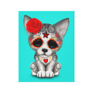 Red Day of the Dead Wolf Cub Canvas Print