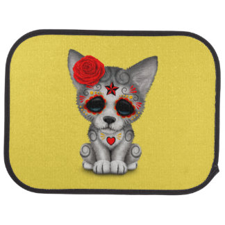 Red Day of the Dead Wolf Cub Car Mat