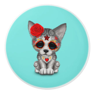 Red Day of the Dead Wolf Cub Ceramic Knob