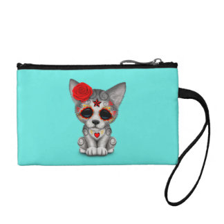 Red Day of the Dead Wolf Cub Coin Purse