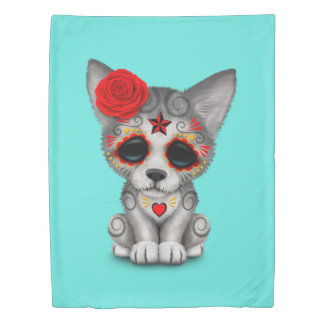 Red Day of the Dead Wolf Cub Duvet Cover