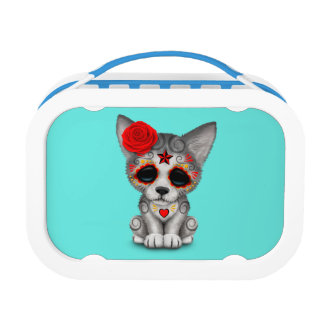 Red Day of the Dead Wolf Cub Lunch Box