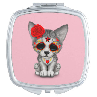 Red Day of the Dead Wolf Cub Mirror For Makeup