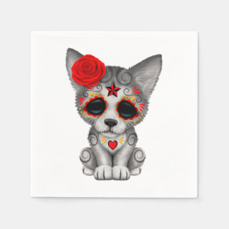 Red Day of the Dead Wolf Cub Paper Napkin