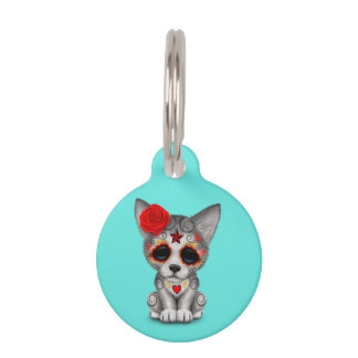 Red Day of the Dead Wolf Cub Pet Tag