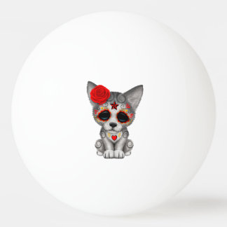 Red Day of the Dead Wolf Cub Ping Pong Ball