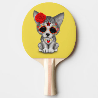 Red Day of the Dead Wolf Cub Ping Pong Paddle