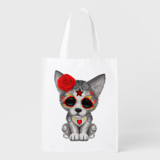 Red Day of the Dead Wolf Cub Reusable Grocery Bag