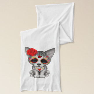 Red Day of the Dead Wolf Cub Scarf