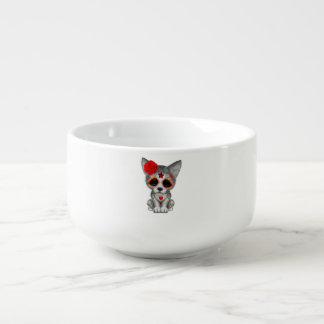 Red Day of the Dead Wolf Cub Soup Bowl With Handle