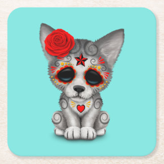 Red Day of the Dead Wolf Cub Square Paper Coaster