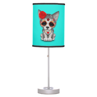 Red Day of the Dead Wolf Cub Table Lamp