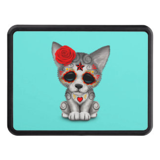 Red Day of the Dead Wolf Cub Trailer Hitch Cover