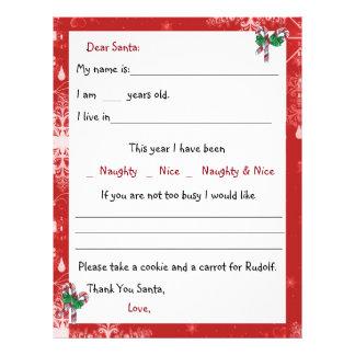 Red, Dear Santa Letter, Candy Canes Customized Letterhead