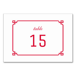 Red Deco Chic Table Card