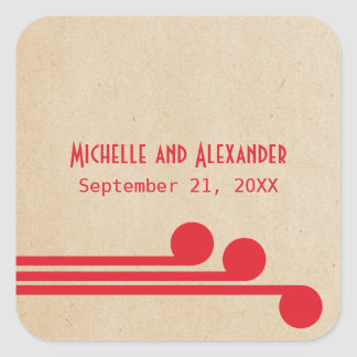 Red Deco Chic Wedding Stickers