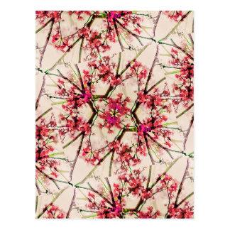 Red Deco Geometric Nature Collage Floral Motif Postcard