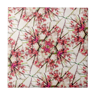 Red Deco Geometric Nature Collage Floral Motif Tile