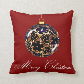 Red Decorative Blue Glitter Merry Christmas Ball Pillow