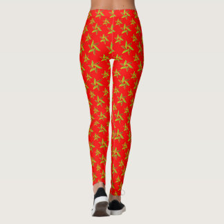 Red Decorative geometric pattern Leggings