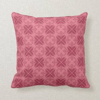 Red Decorative Tile Pattern Throw Pillows