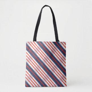 Red Deep Blue Stripe Tote Bag