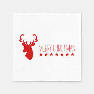 Red Deer Head And Stars With Text Merry Christmas Disposable Napkins