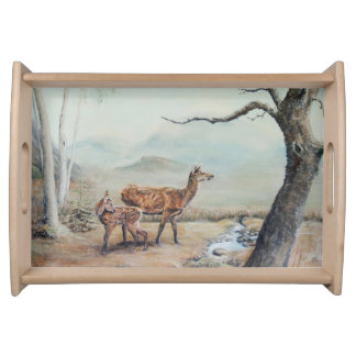 Red deer hind and fawn. serving tray