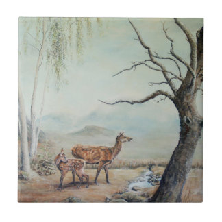 Red deer hind and fawn. tile
