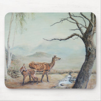 Red deer hind with her fawn, art. mouse pad