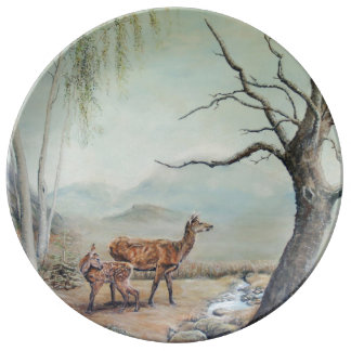 Red deer hind with her fawn, art. plate