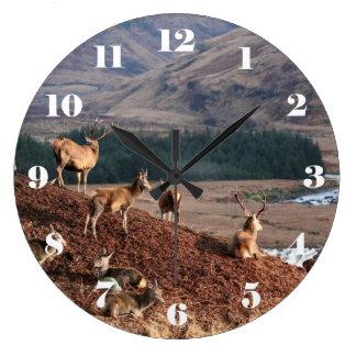 Red deer in Glen Etive, Highlands of Scotland Large Clock