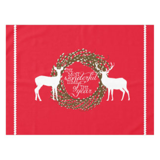 Red Deer Most Wonderful Time Wreath Tablecloth