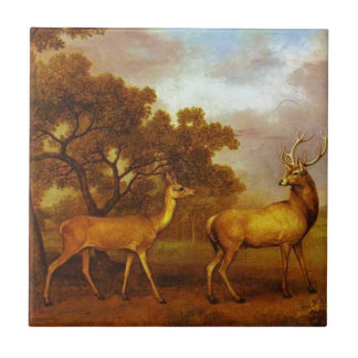 Red Deer Stag and Hind by George Stubbs Tile