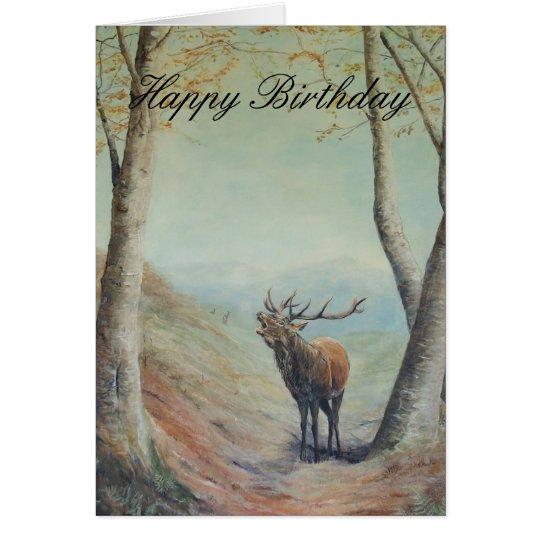 Red deer stag art, Happy Birthday . Card