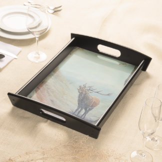 Red deer stag bellowing at rut in a highland glen. serving tray
