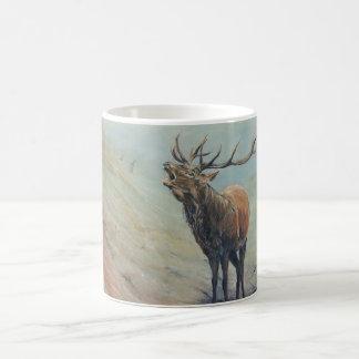 Red deer stag bellowing in a highland glen. coffee mug